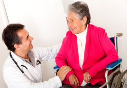 eldery patient in a wheelchair