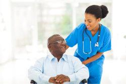 nurse assisting her patient